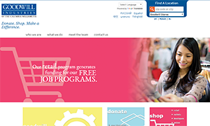 Goodwill Industries:  Non-Profit WordPress Website