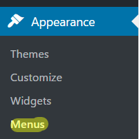 menu admin WordPress
